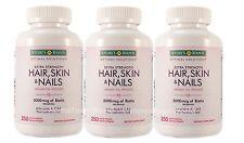 3 BOT NEW Nature's Bounty Hair Skin and Nails Vitamin 5000 mcg Biotin 250 Tabs
