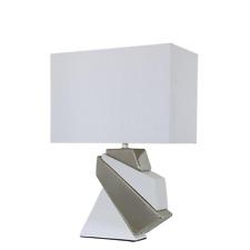 Small Bianco e Argento Contour Design muratura Lampada da tavolo con paralume bianco puro.