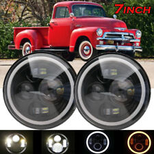"Pair 7"" Inch LED Headlight Round HI/LO Sealed Beam for Chevy Pickup Truck 3100"