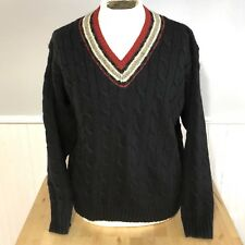 Ralph Lauren Polo V Neck Tennis Sweater 100% Wool Cable Knit Sz Xl Black Red