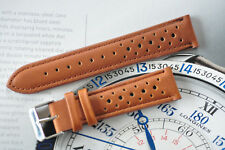 19mm European Hand-Made Rally Racing Quality Leather Watch Strap Tan Brown Band