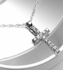 Silver Plated Crystal Diamante Cross Pendant With Silver Chain Necklace UK