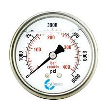 25 Liquid Filled Pressure Gauge 0 6000 Psi Stainless Steel Case Back Mount