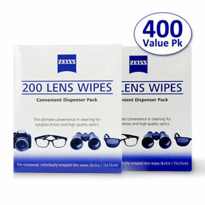 ZEISS Lens Cleaning 400 Wipes Eye Glasses Computer Phone Optical Lenses Cleaner