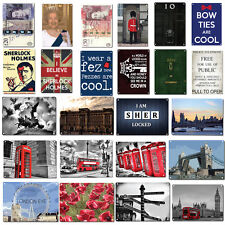 London Icon Wall Plaques Metal Sign Pub GB UK Vintage Art Deco Style England