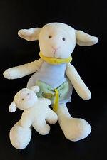 82/ DOUDOU BABY NAT babynat MOUTON + BEBE ECRU BLEU POCHE VERTE - NEUF* !