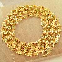 Long 24 Inches 18K Yellow Gold Filled Womens Water Wave Necklace,Z2105