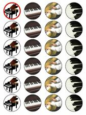 "X24 1.5 ""Piano Teclado Instrumento Musical Cup Cake Toppers sobre comestibles Papel De Arroz"