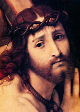 Oil painting portrait Christ Jesus thorns torture canvas no framed