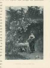 ANTIQUE ELIZABETHAN COSTUME ROSE GARDEN TRELLIS TWO TURTLE DOVES MINIATURE PRINT