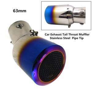 63mm Car Roasted Blue Exhaust Tail Throat Muffler Stainless Steel Pipe Tip Grand