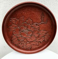 JAPANESE KAMAKURA-BORI NEGORO RED LACQUERWARE FLORAL CARVED RELIEF PLATE DISH