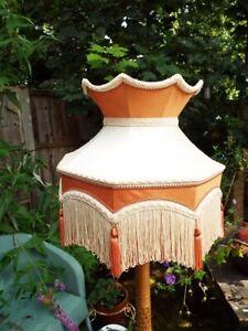 Vintage Victorian Downton Abbey Burnt Orange Silk Crown Tassel Fringe Lampshade