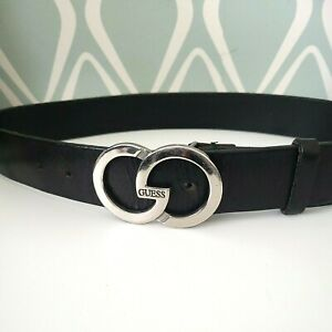 GUESS Silver Logo Buckle Black Womens Leather Belt Size Small