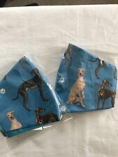 Blue Greyhound Dog Face Mask..100%Cotton. Lined.  Reversible