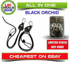 Hydroponic Grow Room Heavy Duty Rope Ratchet Lighting Hanger - Black Orchid