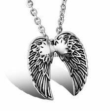 Men's Women's Silver Feather Angel Wing Charm Stainless Steel Pendant Necklace
