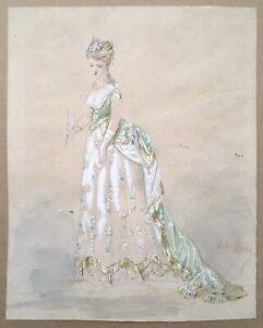 Drawing Original Gouache Jules Pissed Off Watercolour Model Costume 18th Woman