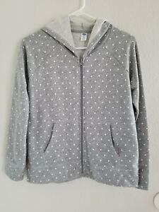 NEW NWOT Old Navy Gap girls grey gray white polka dot hoodie sweatshirt XL 14 16