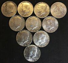 1968-1969 (D) JFK Kennedy (40% silver) Half Dollars QTY:10 Circulated (1/2 roll)
