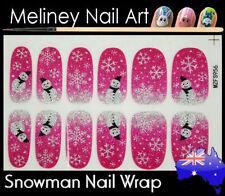 Snowman Full Cover Glitter Nail Art Wraps Stickers Pattern Christmas Snowflake
