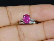 Natural 2.4Cts VS G Diamond Ruby Solid Platinum Engagement 3 Stone Ring Band Set