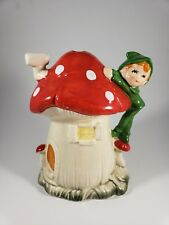 Vintage Red Spotted Magic Mushroom and Elf House Coin Bank Ceramic Piggy Bank