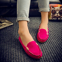 Womens Suede Casual Flat Shoes Loafers Ladies Ballerina Ballet Slip On Moccasin