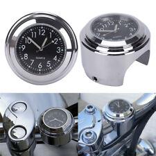 "7/8""1"" Waterproof Motorcycle Handlebar Mount Black Dial Clock/Thermometer TempFL"