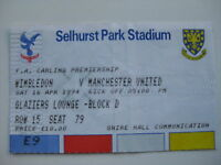 WIMBLEDON v MANCHESTER UNITED  16/04/1994 USED TICKET STUB