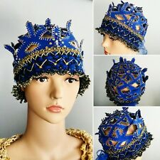 Hand Embroidered Gold and Blue Cloche Hat1920 Vintage Style ClocheArt Deco