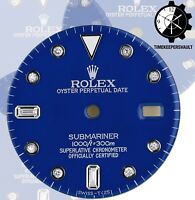To Fit Rolex Submariner Steel Blue Diamond Dial Model16800, 16610, 116610.