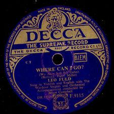Leo Fuld-yiddish & English-where can I go?/Hebrew Chant 78rpm s8723