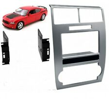 Double Din Silver Dash Kit Panel Car Radio Stereo for Dodge CHARGER 2006-2007 D3