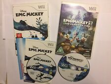 2 x NINTENDO Wii GAMES DISNEY EPIC MICKEY 1 / I COMPLETE + # 2 / II BOXED PAL
