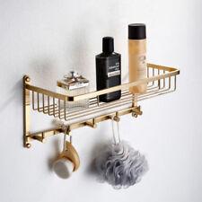 Brushed Gold Bathroom Towel Rack Holder Towel Shelf Bar Wall Mount Hook Storage