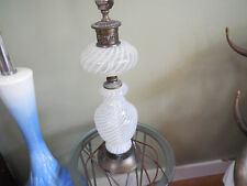 Mid century Table Lamp Glass Swirl Pattern Clear and White Brass fittings  N/R