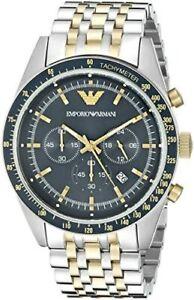 Emporio Armani Navy Blue Dial Chronograph Silver Gold Tone Men's Watch AR6088