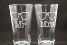 Hipster Mr and Mrs Engraved Pint Glasses Hipster Wedding Gift, Engagement Gift