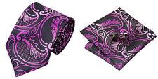Purple Novelty 100% Silk Classic Mens Necktie Tie Hanky Cufflink Set NT126