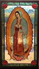 "New Glassmasters ""Our Lady of Guadalupe"" 8""x14""  Stained Glass Panel NEW in box"