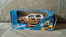 Disney Bburago Mickey Mouse 1/43 Die Cast Car Italy Fiat White Red Toy Model