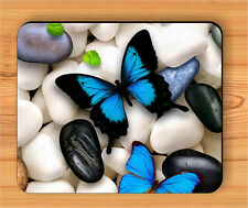 BUTTERFLY BLUE WINGS ON WHITE RIVER PEBBLES MOUSE PAD -iju7Z