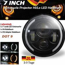 7''60W Rund LED Motorrad Hi/Lo Scheinwerfer Projektor DRL Tagfahrlicht E-Zeichen