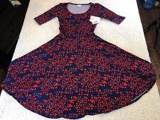 *NEW* LuLaRoe Nicole Dress Navy/Red Geometric Print Women's Size XS