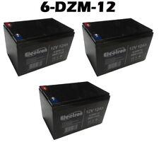 3 Batterie plomb rechargeable 12V 12Ah 6DZM12 deep cycle scooter vélo électrique