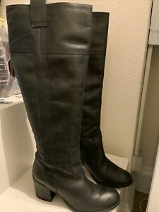 Aldo Black Leather Knee High Boots Size 7/40 (104BB)