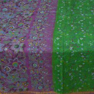 Sanskriti Vintage Green Sarees Pure Silk Print Saree Craft Golden Border Fabric