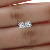 0.50 Ct Solitaire Diamond Earring Stud 14K Solid White Gold Round Cut Studs