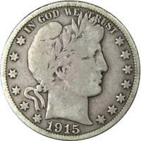 1915 S Barber Half Dollar VG Very Good 90% Silver 50c US Type Coin Collectible